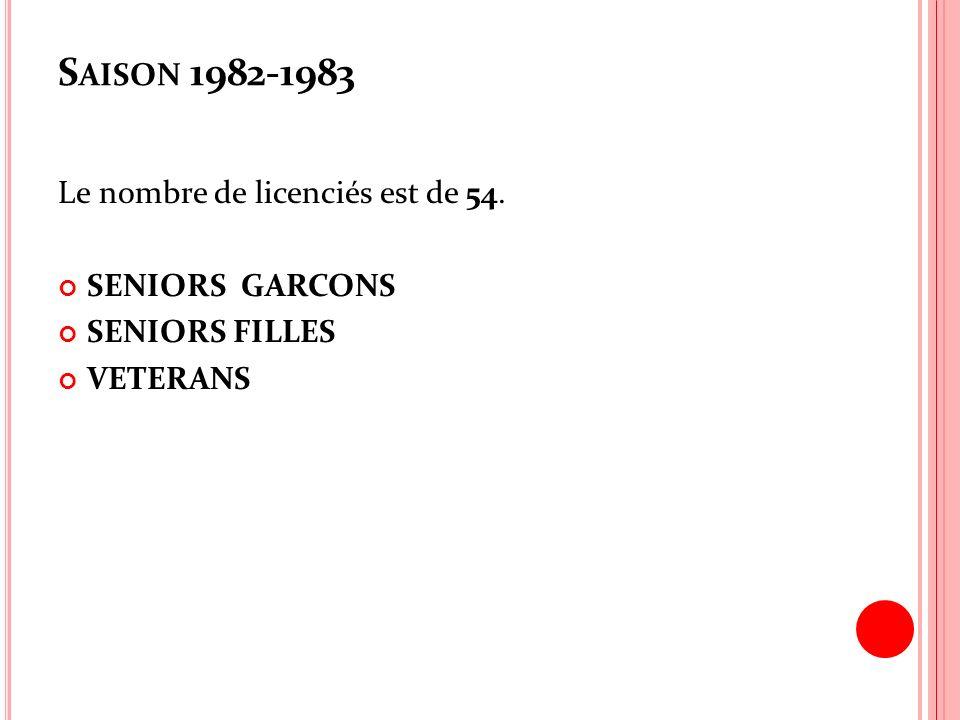 Saison 1982-1983 Le nombre de licenciés est de 54. SENIORS GARCONS