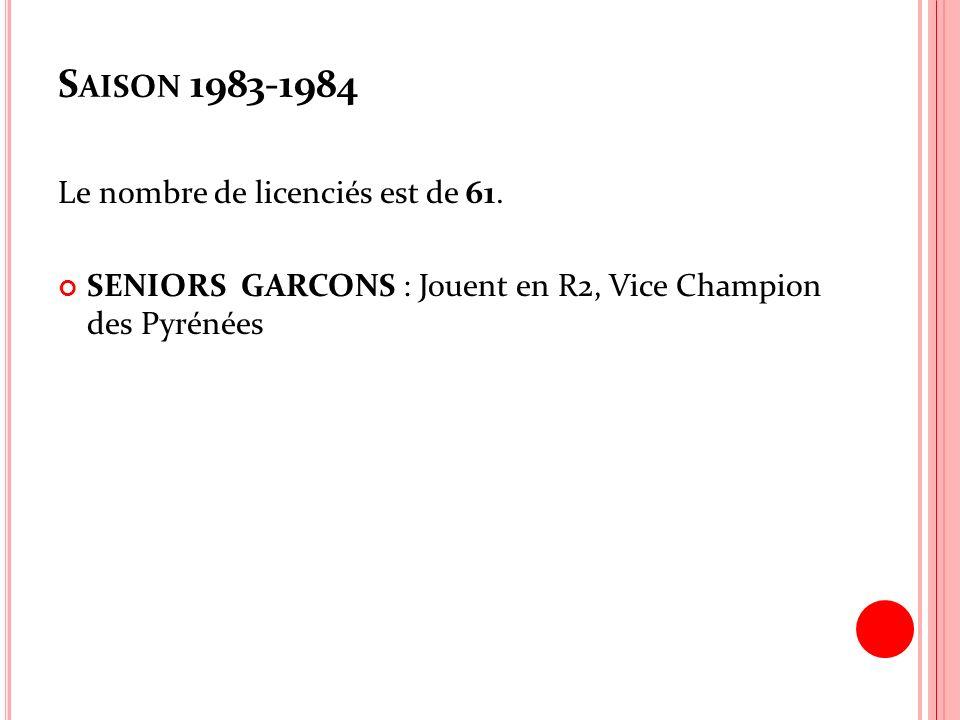 Saison 1983-1984 Le nombre de licenciés est de 61.