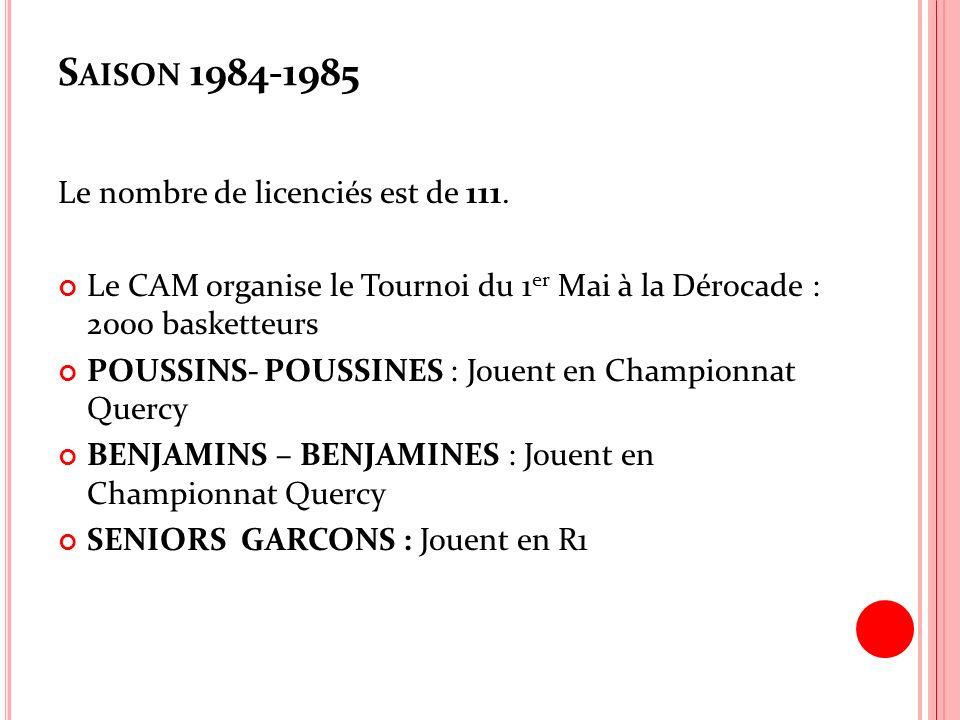 Saison 1984-1985 Le nombre de licenciés est de 111.