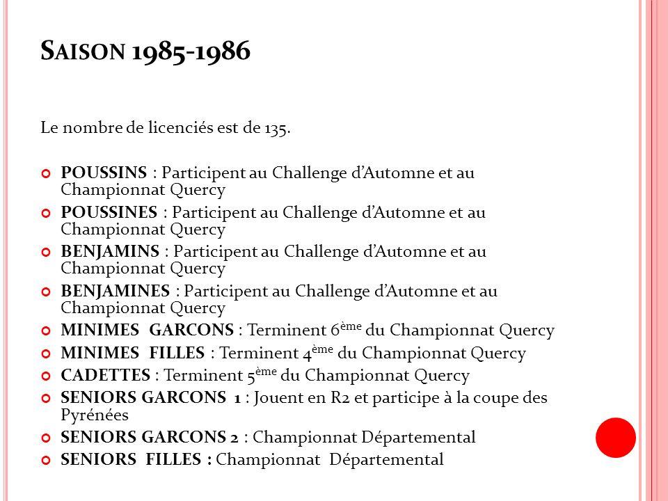 Saison 1985-1986 Le nombre de licenciés est de 135.