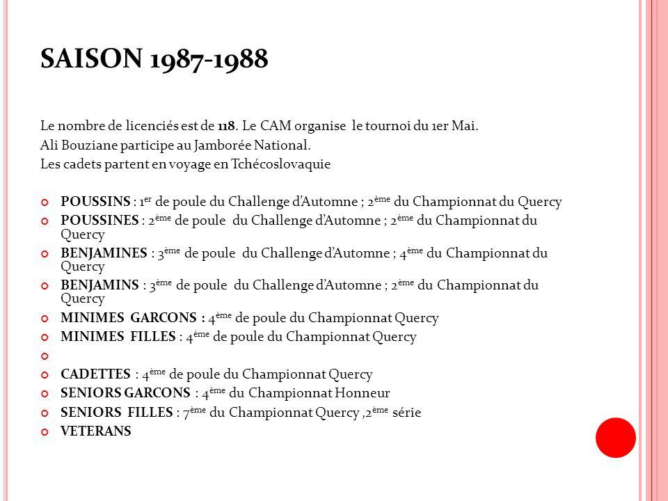 SAISON 1987-1988 Le nombre de licenciés est de 118. Le CAM organise le tournoi du 1er Mai. Ali Bouziane participe au Jamborée National.
