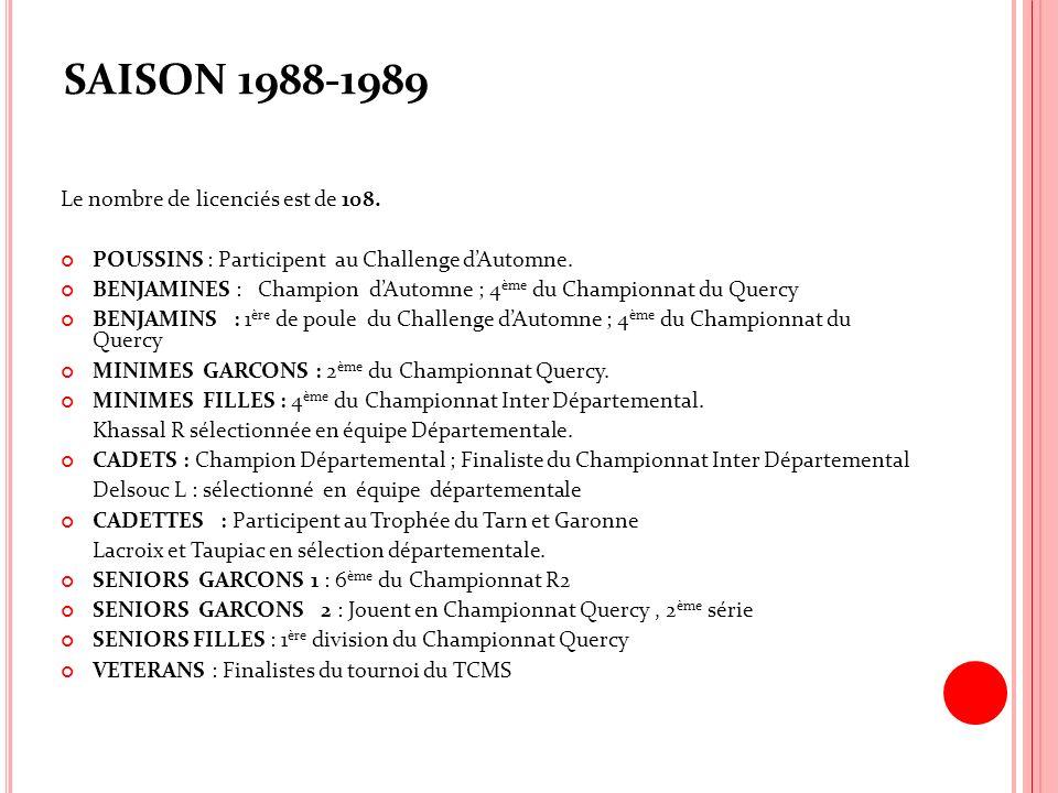 SAISON 1988-1989 Le nombre de licenciés est de 108.
