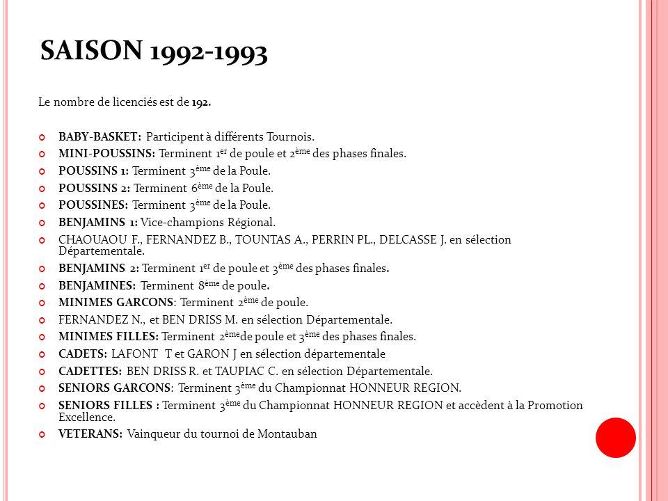 SAISON 1992-1993 Le nombre de licenciés est de 192.