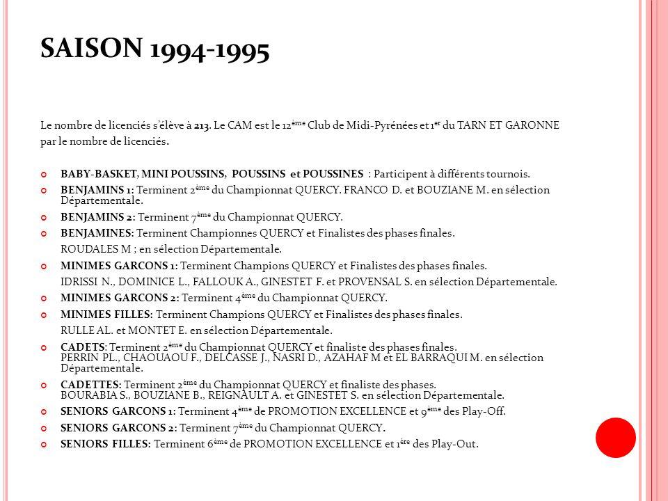 SAISON 1994-1995 Le nombre de licenciés s'élève à 213. Le CAM est le 12ème Club de Midi-Pyrénées et 1er du TARN ET GARONNE.