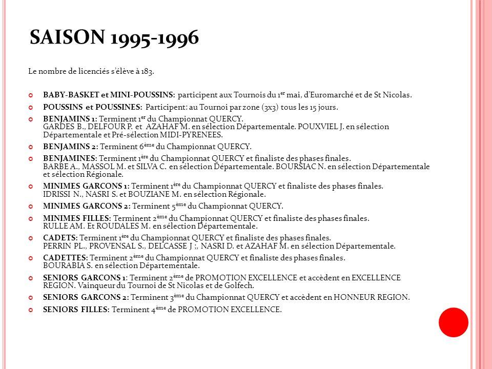 SAISON 1995-1996 Le nombre de licenciés s'élève à 183.