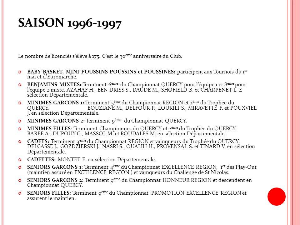 SAISON 1996-1997 Le nombre de licenciés s'élève à 175. C'est le 30ème anniversaire du Club.