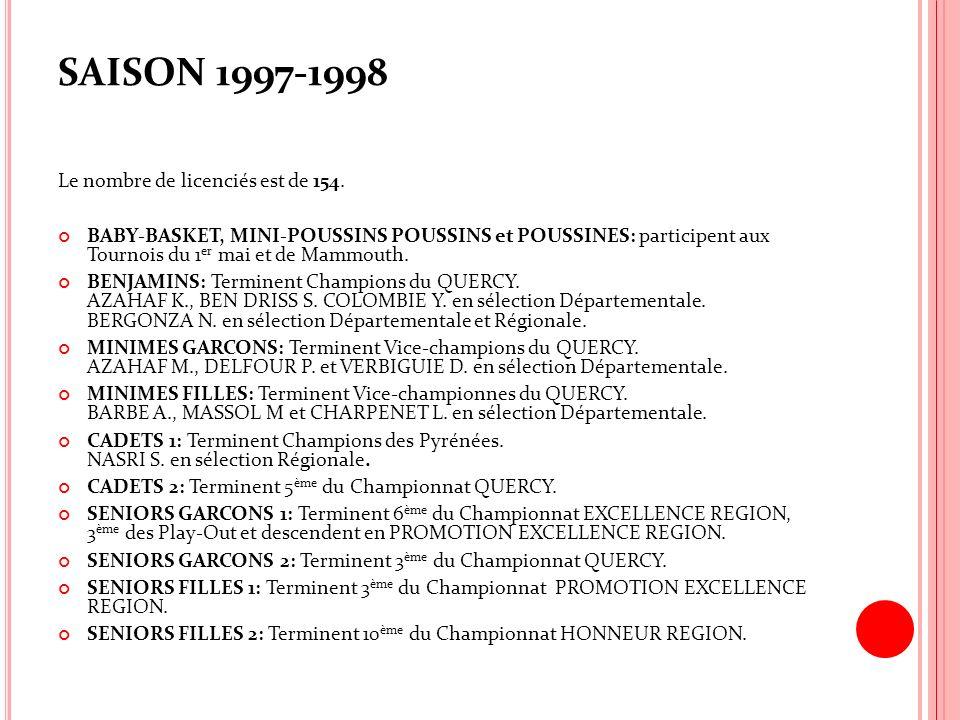 SAISON 1997-1998 Le nombre de licenciés est de 154.