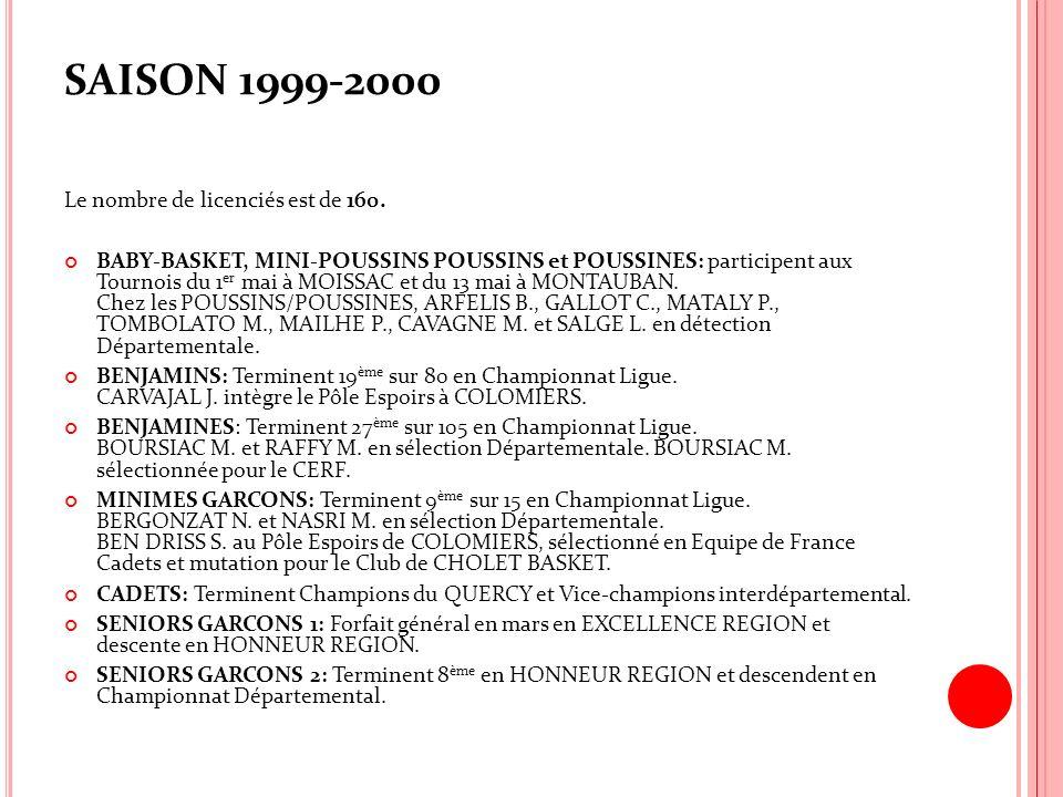 SAISON 1999-2000 Le nombre de licenciés est de 160.