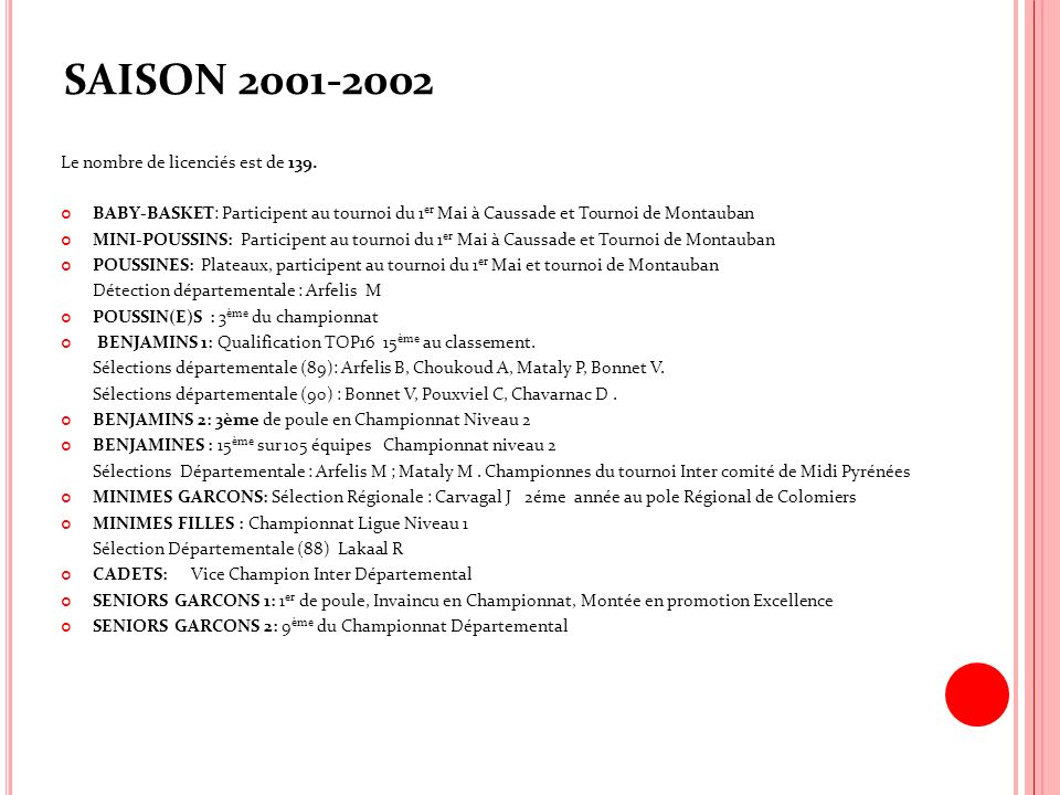 SAISON 2001-2002 Le nombre de licenciés est de 139.