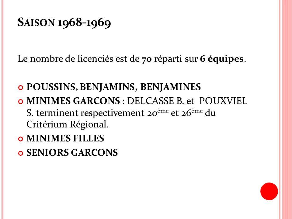 Saison 1968-1969 Le nombre de licenciés est de 70 réparti sur 6 équipes. POUSSINS, BENJAMINS, BENJAMINES.