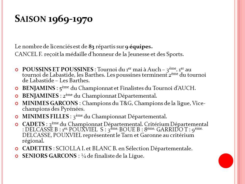 Saison 1969-1970 Le nombre de licenciés est de 83 répartis sur 9 équipes. CANCEL F. reçoit la médaille d'honneur de la Jeunesse et des Sports.