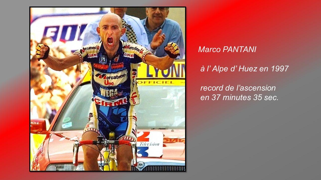 Marco PANTANI à l' Alpe d' Huez en 1997 record de l'ascension en 37 minutes 35 sec.