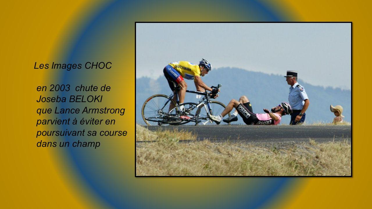 Les Images CHOC en 2003 chute de. Joseba BELOKI. que Lance Armstrong. parvient à éviter en. poursuivant sa course.