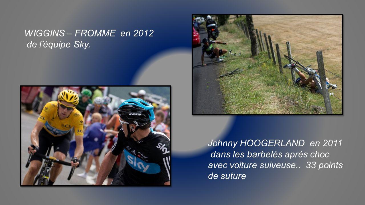 WIGGINS – FROMME en 2012 de l'équipe Sky. Johnny HOOGERLAND en 2011.