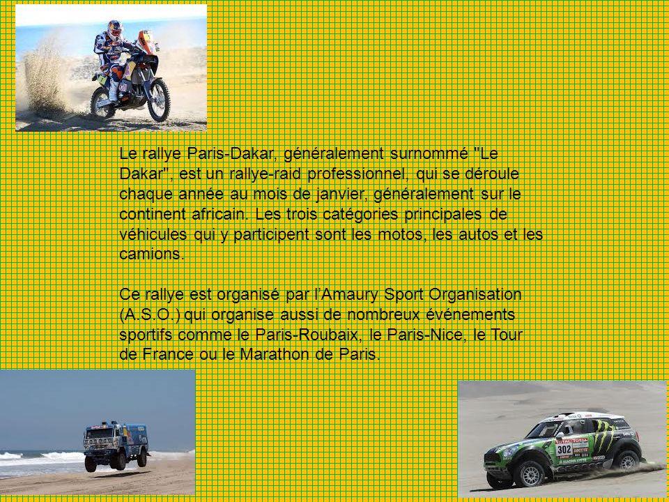 Le rallye Paris-Dakar, généralement surnommé Le Dakar , est un rallye-raid professionnel, qui se déroule chaque année au mois de janvier, généralement sur le continent africain. Les trois catégories principales de véhicules qui y participent sont les motos, les autos et les camions.