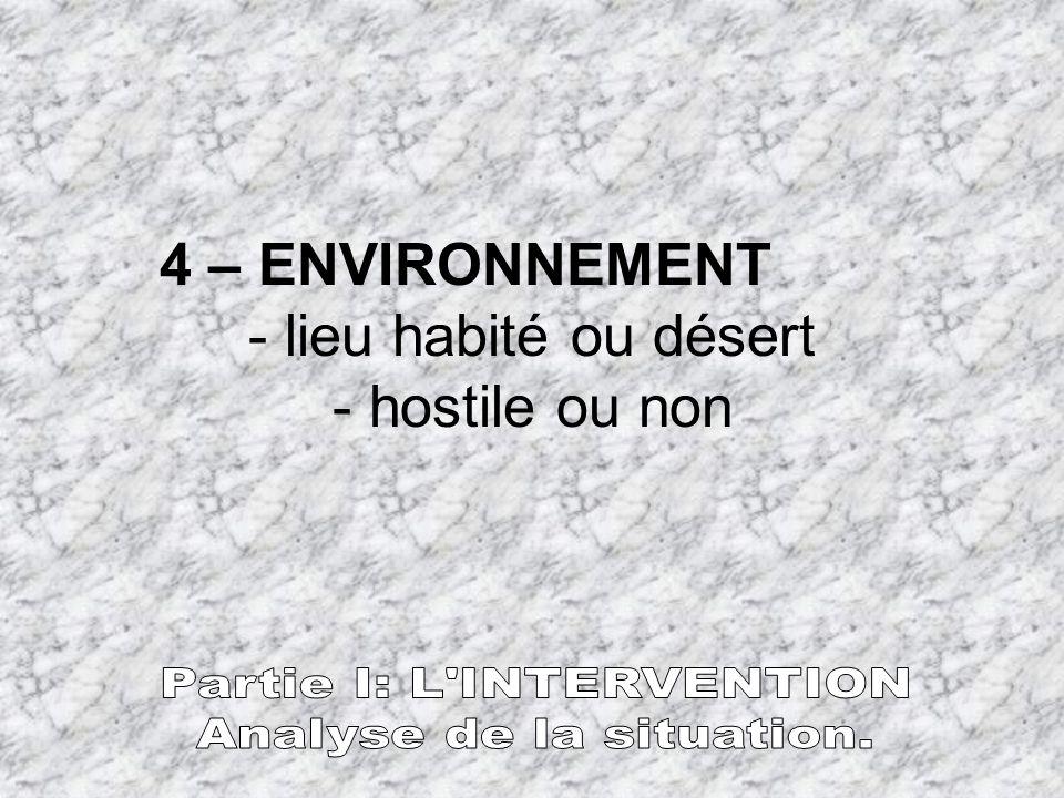 4 – ENVIRONNEMENT - lieu habité ou désert - hostile ou non