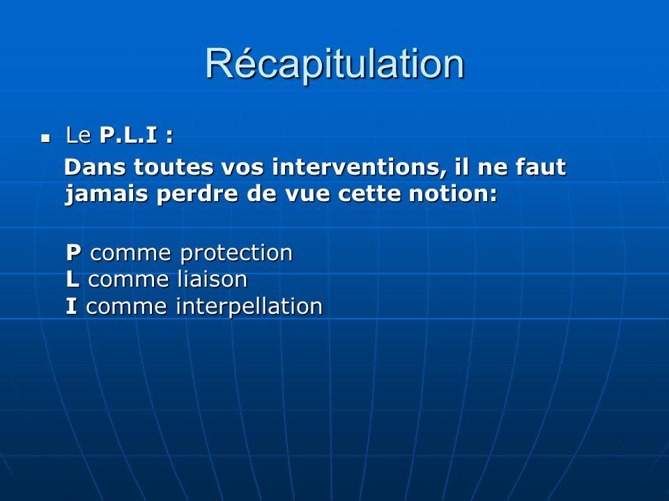 Récapitulation Le P.L.I :
