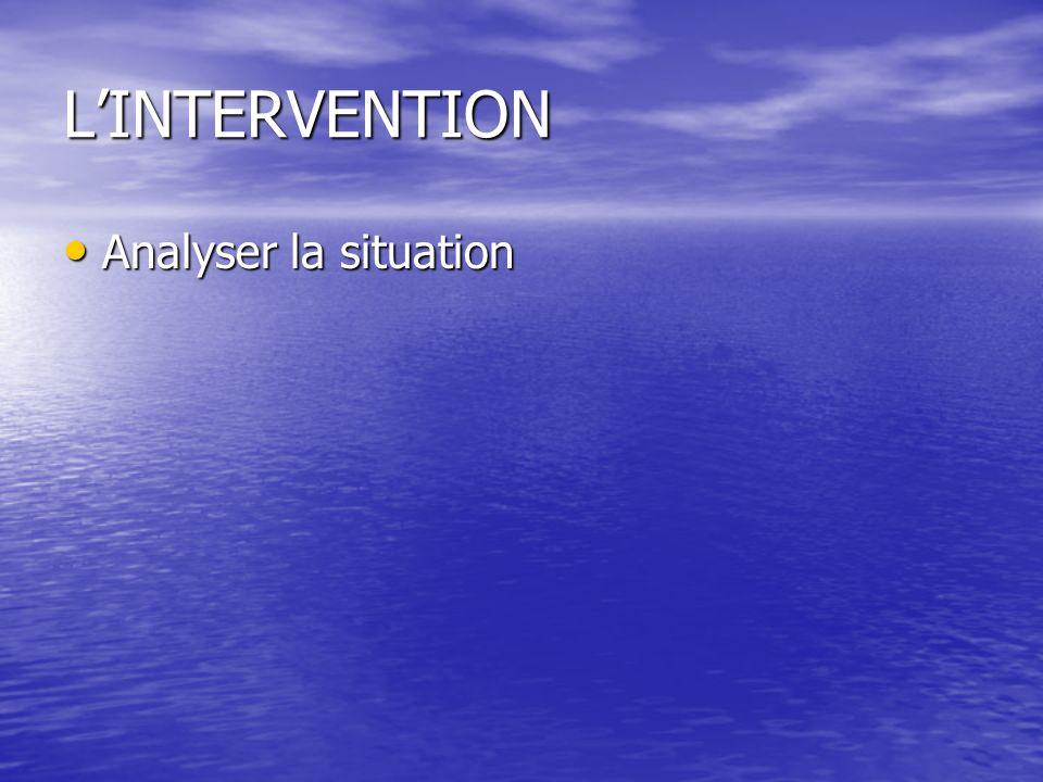 L'INTERVENTION Analyser la situation
