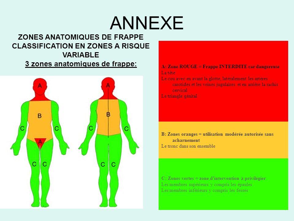 3 zones anatomiques de frappe: