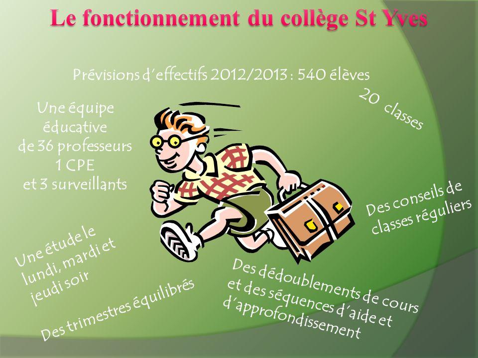 Le fonctionnement du collège St Yves
