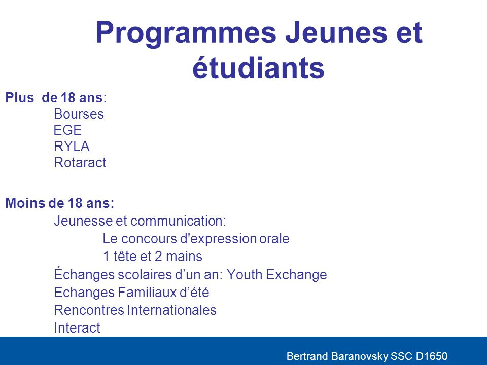 Programmes Jeunes et étudiants