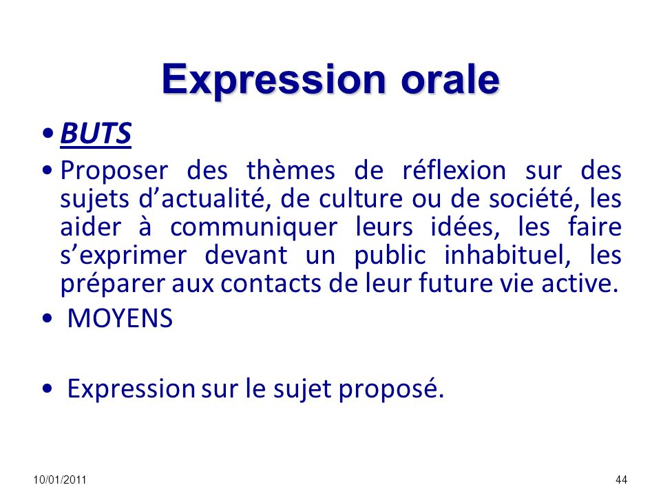 Expression orale BUTS.