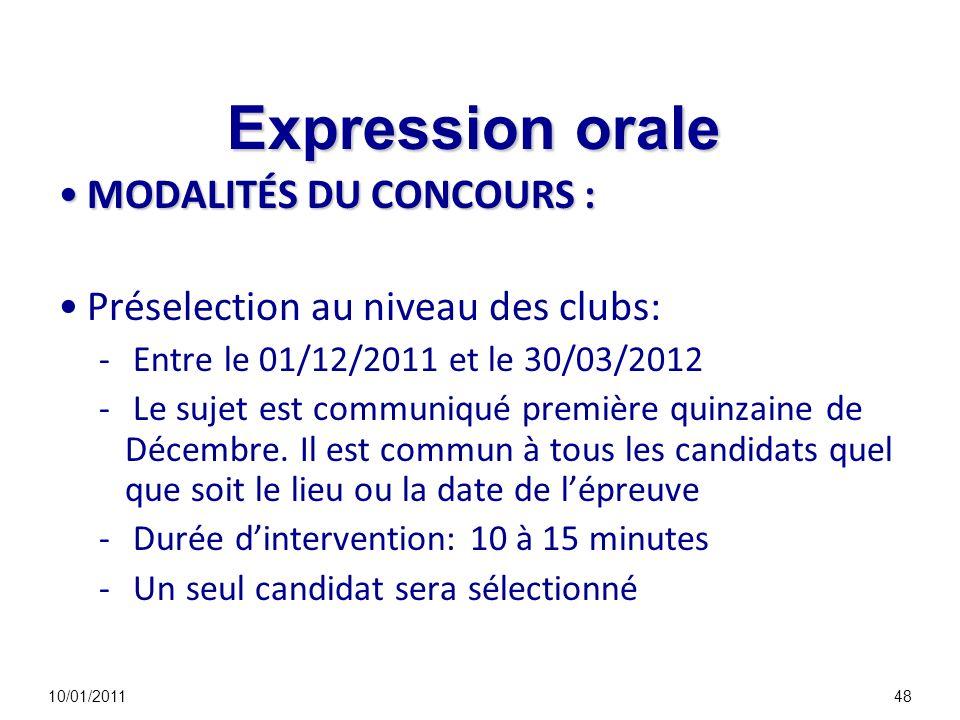 Expression orale MODALITÉS DU CONCOURS :