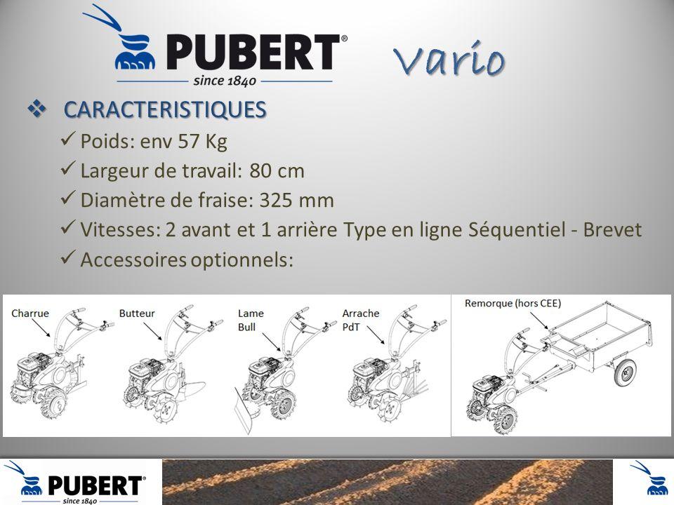 Vario CARACTERISTIQUES Poids: env 57 Kg Largeur de travail: 80 cm