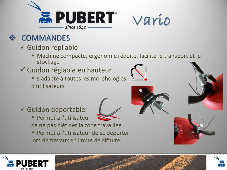 Vario COMMANDES Guidon repliable Guidon réglable en hauteur