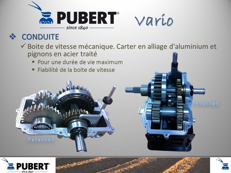 Vario CONDUITE. Boite de vitesse mécanique. Carter en alliage d aluminium et pignons en acier traité.