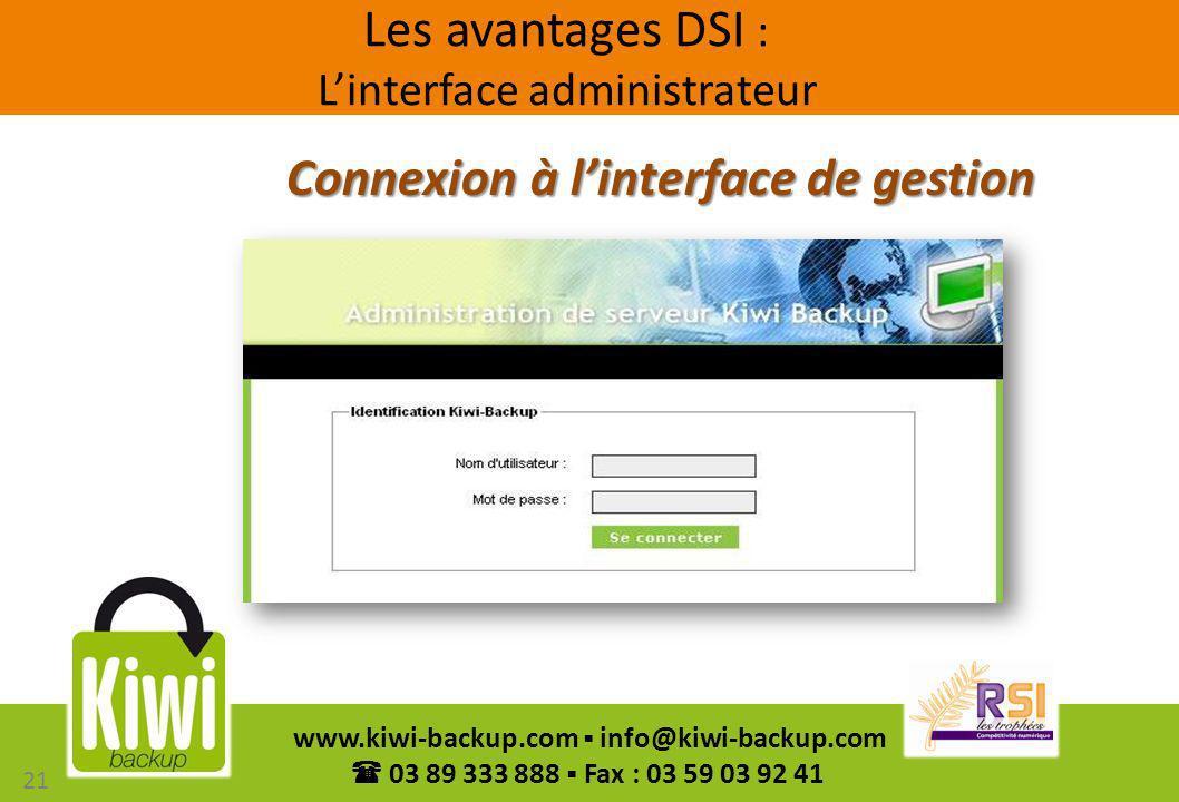 Les avantages DSI : L'interface administrateur