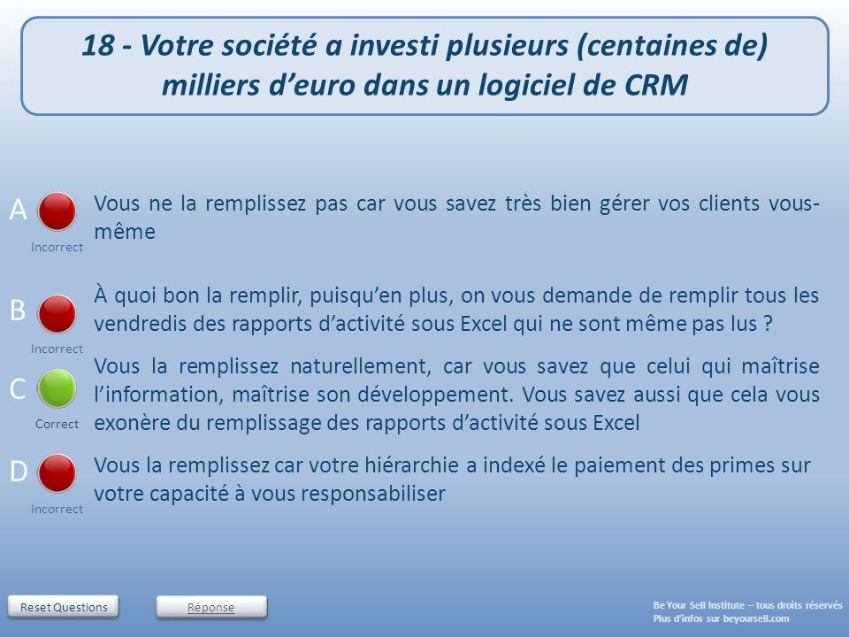 18 - Votre société a investi plusieurs (centaines de) milliers d'euro dans un logiciel de CRM
