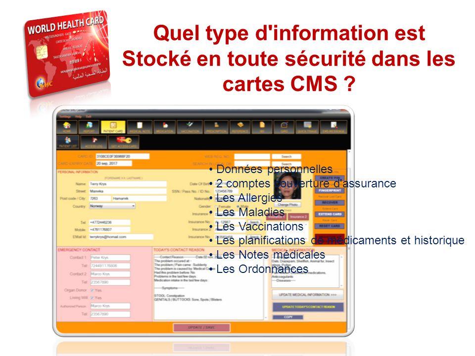 THE SYSTEM Quel type d information est Stocké en toute sécurité dans les cartes CMS • Données personnelles.