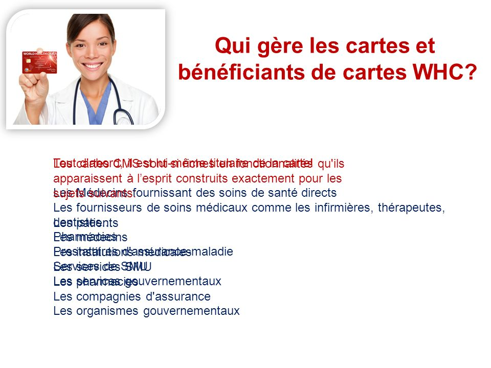 bénéficiants de cartes WHC