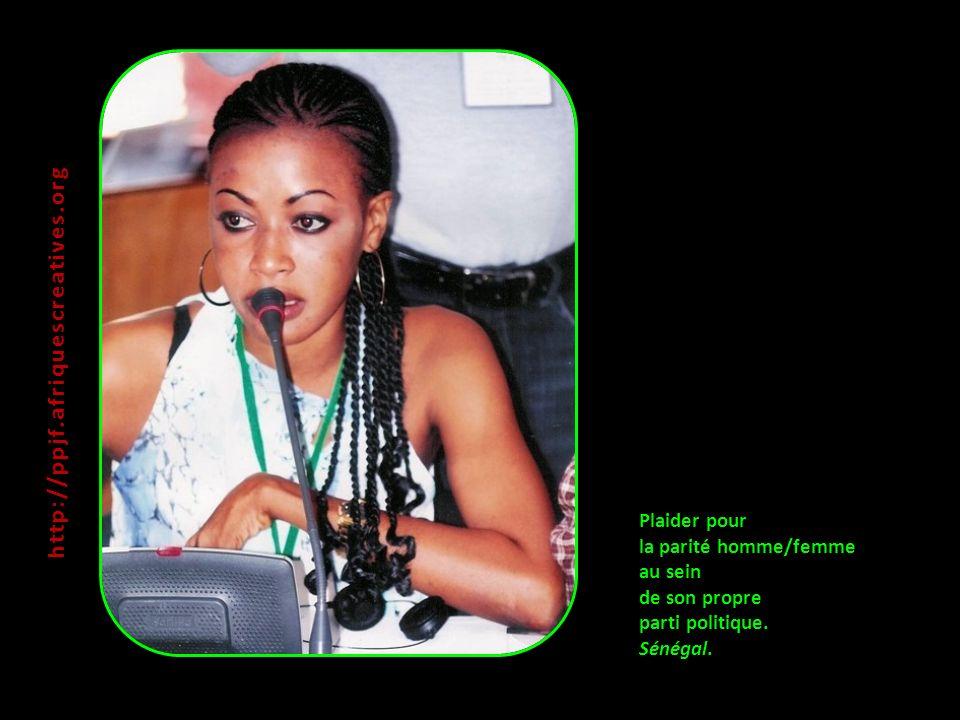 http://ppjf.afriquescreatives.org Plaider pour la parité homme/femme au sein de son propre parti politique.