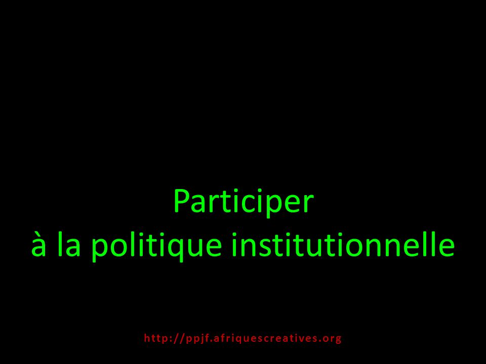Participer à la politique institutionnelle