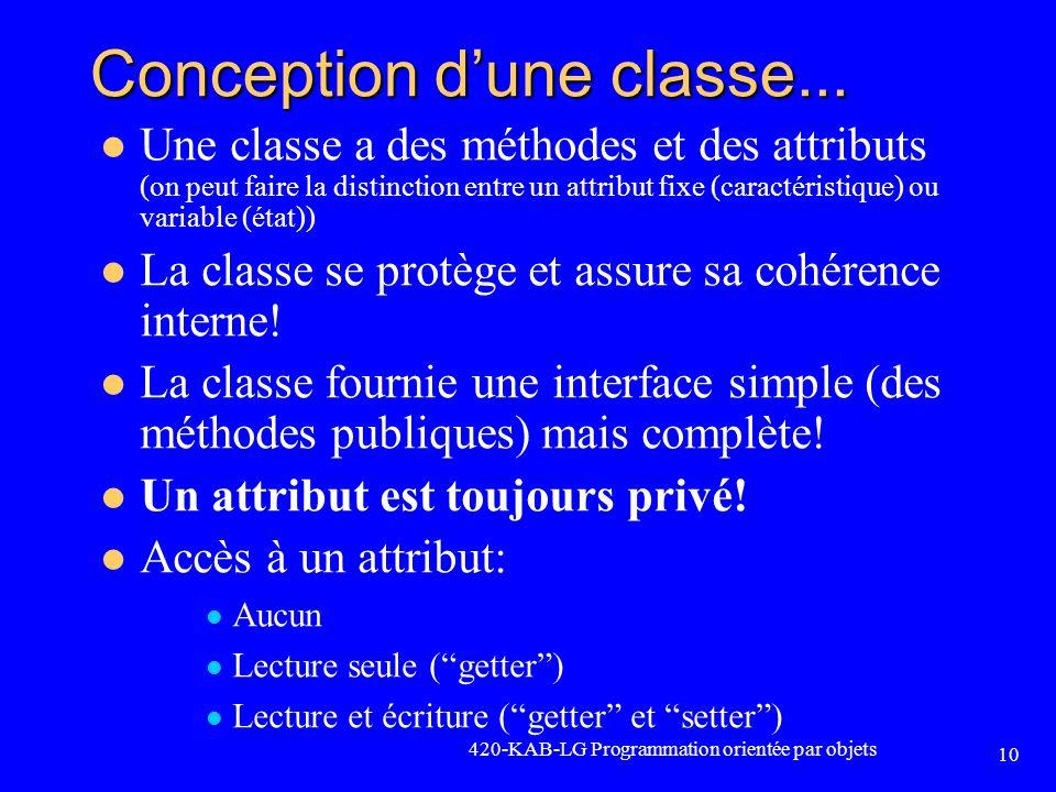 Conception d'une classe...