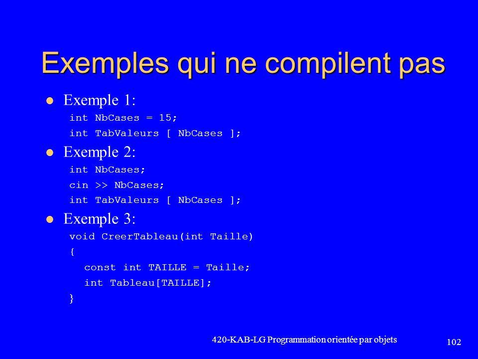 Exemples qui ne compilent pas