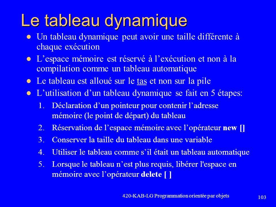 Le tableau dynamique Un tableau dynamique peut avoir une taille différente à chaque exécution.
