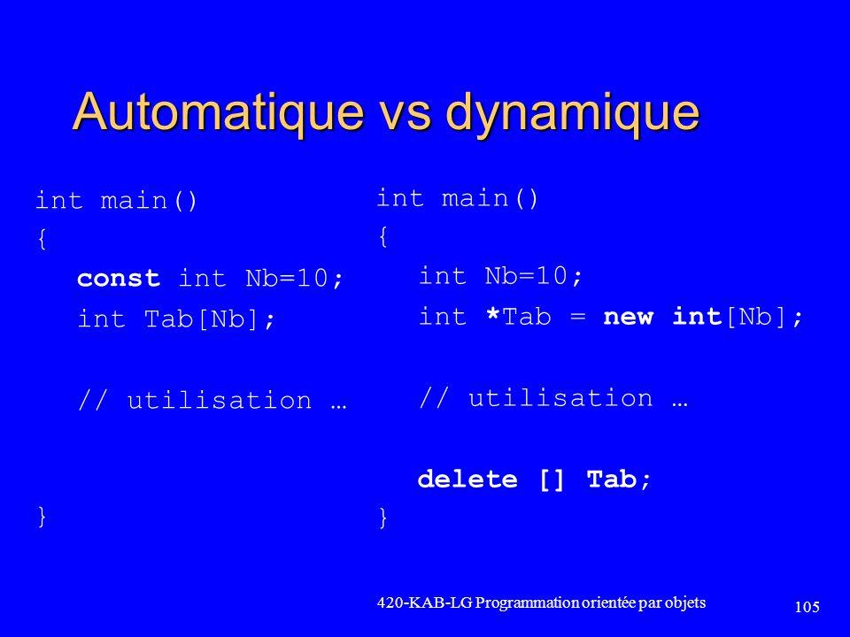 Automatique vs dynamique