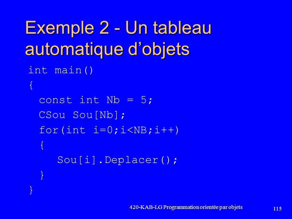 Exemple 2 - Un tableau automatique d'objets