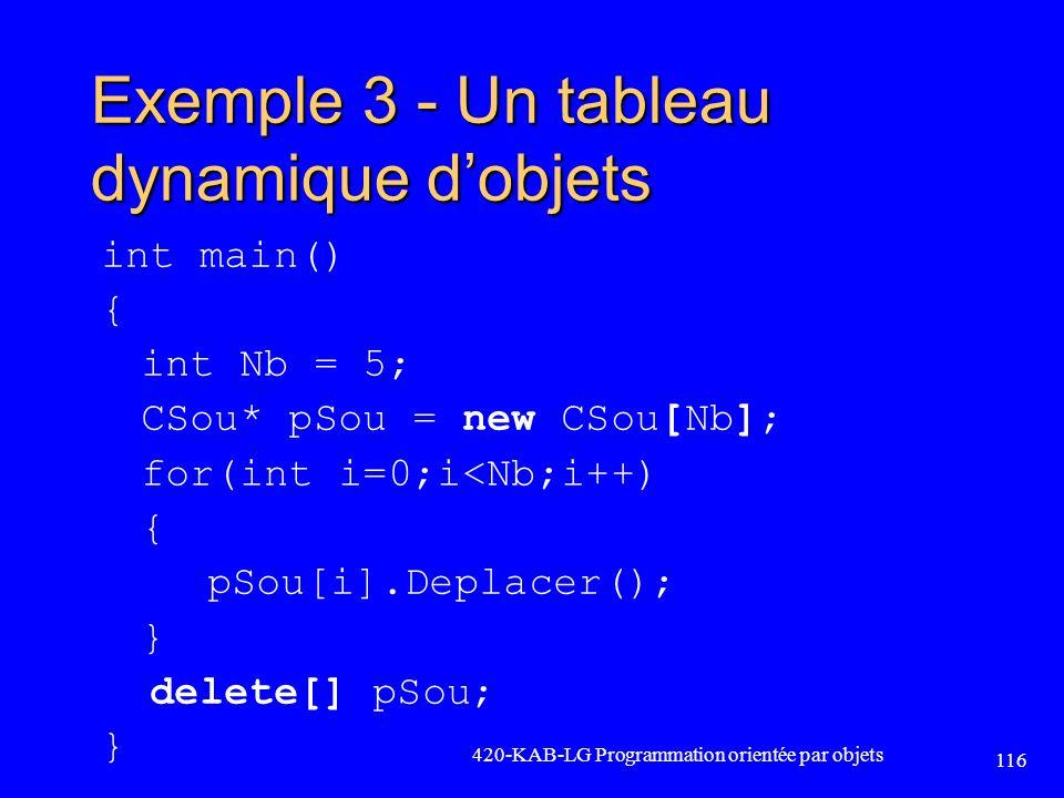 Exemple 3 - Un tableau dynamique d'objets