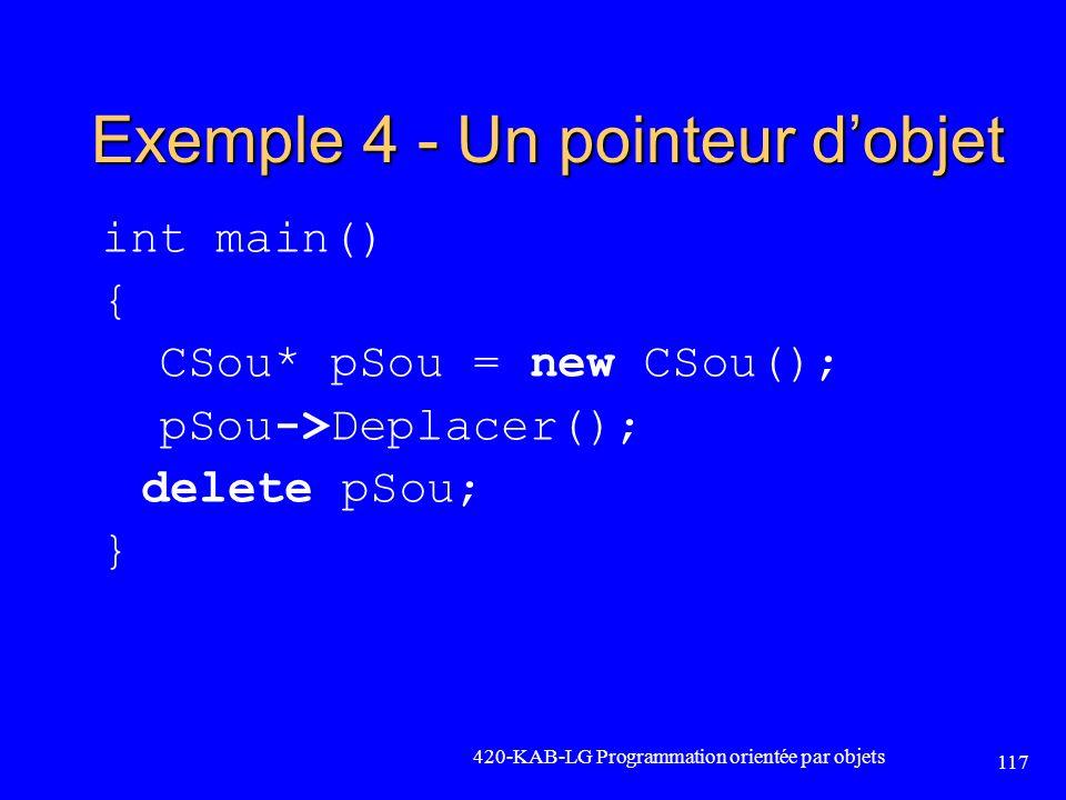 Exemple 4 - Un pointeur d'objet