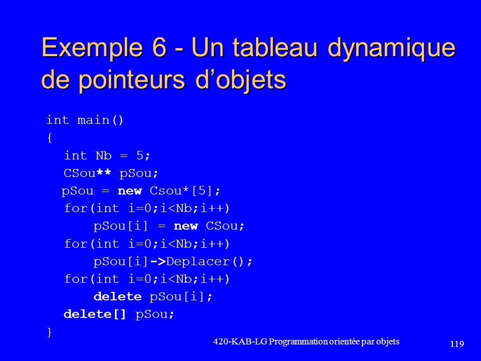 Exemple 6 - Un tableau dynamique de pointeurs d'objets