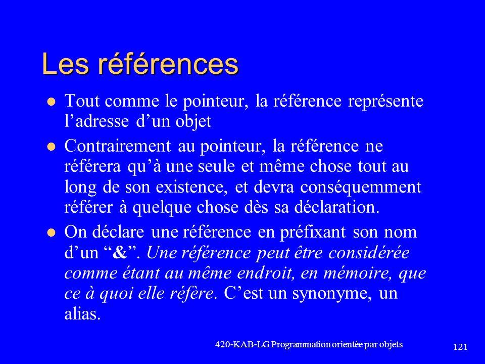 Les références Tout comme le pointeur, la référence représente l'adresse d'un objet.