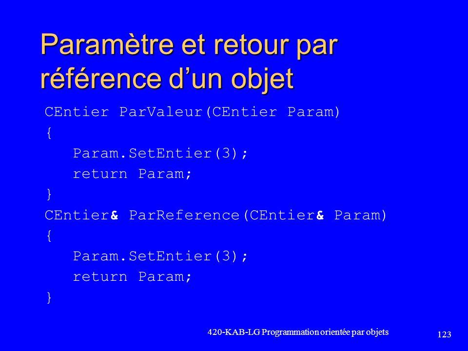 Paramètre et retour par référence d'un objet