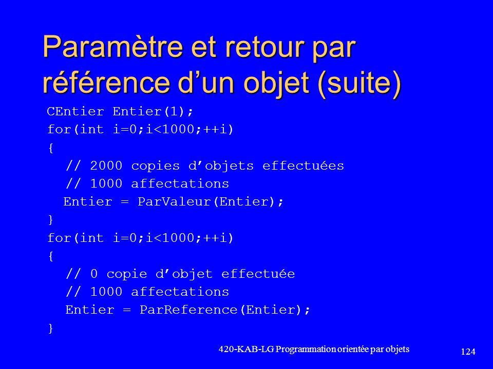 Paramètre et retour par référence d'un objet (suite)