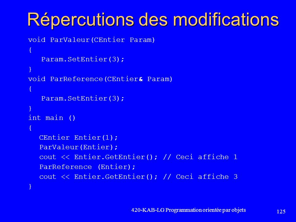 Répercutions des modifications