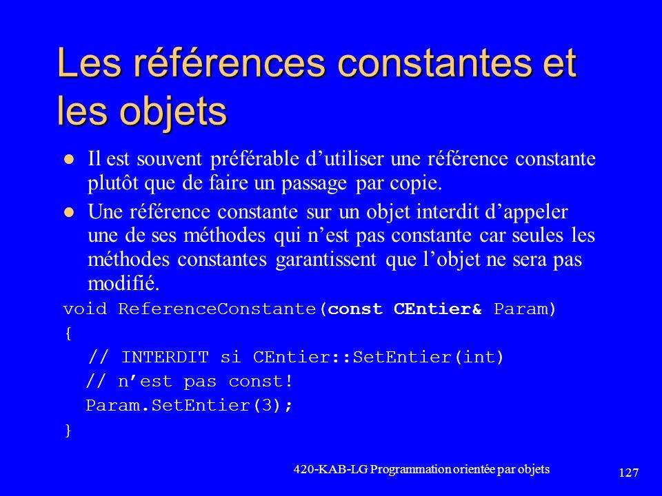 Les références constantes et les objets