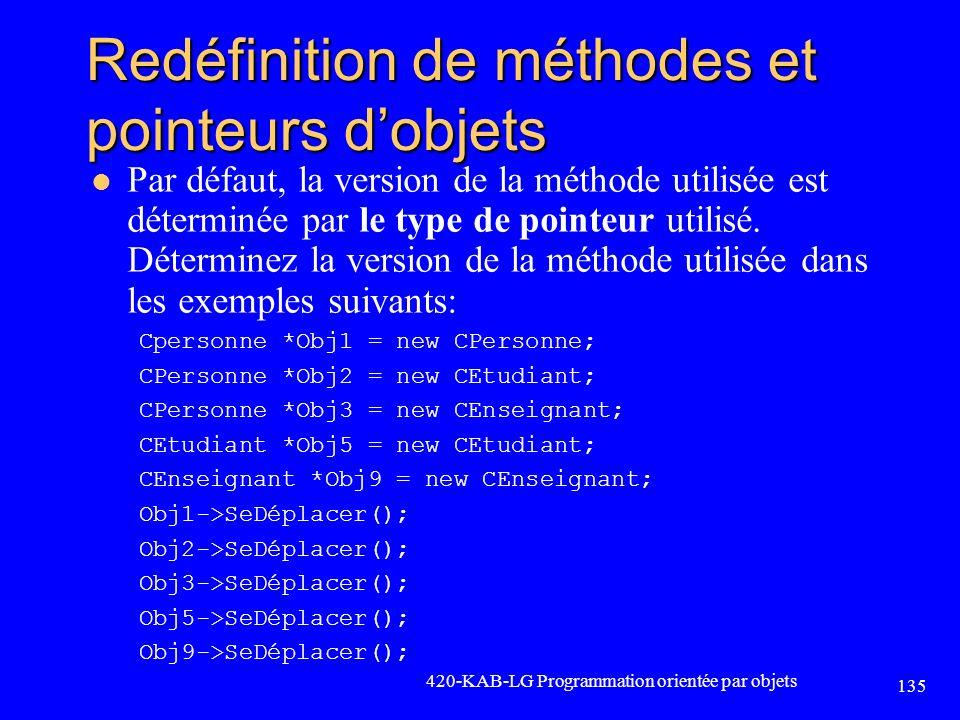 Redéfinition de méthodes et pointeurs d'objets